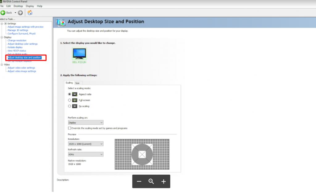 2. Adjust desktop size and position